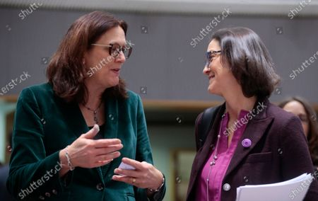 Stock Photo of European Commissioner for Trade Cecilia Malmstrom (L) and Spanish Minister of Industry, Trade and Tourism Maria Reyes Maroto Illera (R) during a Foreign Affairs Council on Trade in Brussels, Belgium, 21 November 2019. The Council meeting's agenda is topped by discussions on the World Trade Organization (WTO) reform status, recent developments in the EU-US trade relations, and international trade in general.