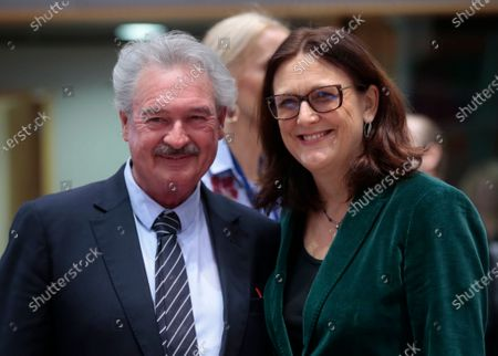 European Commissioner for Trade Cecilia Malmstrom (R) and Foreign Minister of Luxembourg Jean Asselborn (L) during a Foreign Affairs Council on Trade in Brussels, Belgium, 21 November 2019. The Council meeting's agenda is topped by discussions on the World Trade Organization (WTO) reform status, recent developments in the EU-US trade relations, and international trade in general.