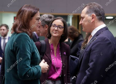 (L-R) European Commissioner for Trade Cecilia Malmstrom (L); Spanish Minister Minister of Industry, Trade and Tourism MAria Reyes Maroto Illera; and Cypriot Minister of Energy, Commerce, Industry and Tourism Yiorgos Lakkotrypis during a Foreign Affairs Council on Trade in Brussels, Belgium, 21 November 2019. The Council meeting's agenda is topped by discussions on the World Trade Organization (WTO) reform status, recent developments in the EU-US trade relations, and international trade in general.