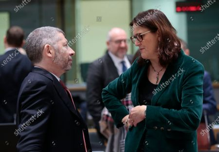 Stock Image of European Commissioner for Trade Cecilia Malmstrom (R) and italian Deputy Minister of Economic Development Ivan Scalfarotto  during a Foreign Affairs Council on Trade in Brussels, Belgium, 21 November 2019. The Council meeting's agenda is topped by discussions on the World Trade Organization (WTO) reform status, recent developments in the EU-US trade relations, and international trade in general.