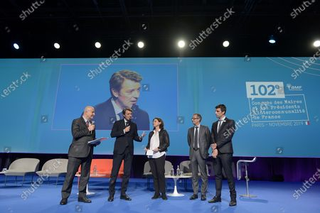 Stock Photo of Presentation of Terres de Jeux 2024 for the Olympic and Paralympic Games Paris 2024, with Tony Estanguet, President of the Organizing Committee of the Olympic and Paralympic Games @ Paris2024, Roxana Maracineanu, Minister of Sports and Francois Baroin, President of AMF