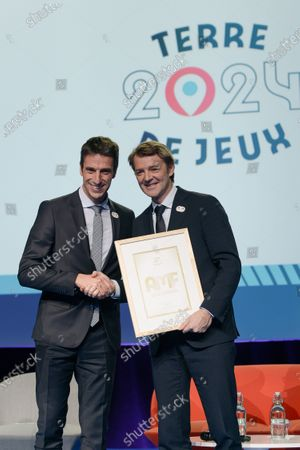 Presentation of Terres de Jeux 2024 for the Olympic and Paralympic Games Paris 2024, with Tony Estanguet, President of the Organizing Committee of the Olympic and Paralympic Games @ Paris2024, Roxana Maracineanu, Minister of Sports and Francois Baroin, President of AMF