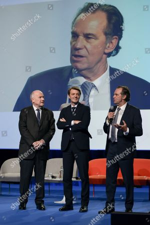 Dominique Bussereau, President of ADF, Francois Baroin, President of AMF, Renaud Muselier President of Regions of France during the 102nd Congress of Mayors and Presidents of intercommunities of France, at Parc des Expositions, Porte de Versailles