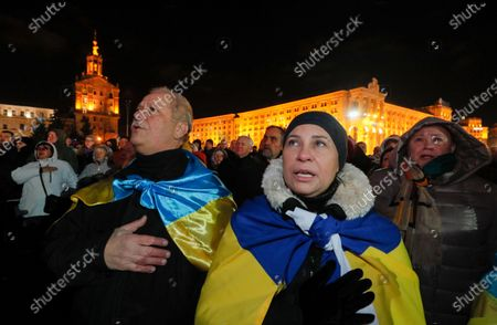 Ukrainians attend a rally on the Independence Square in Kiev, Ukraine, 21 November 2019. Ukrainians marked the anniversary of the Euromaidan revolution, commemorating 21 November 2013, on which activists started an anti-government picket after then-Prime Minister Mykola Azarov announced the suspension of a landmark treaty with the European Union. The protests eventually led to the ouster of President Viktor Yanukovych, creating political rifts through the country that erupted into a violent conflict between separatists and government forces in the eastern part of the country in the spring.