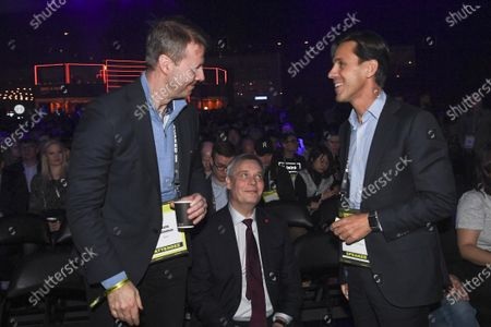 (L-R) Risto Siilasmaa of Nokia, Finnish Prime Minister Antti Rinne, and David Simas CEO of the Obama Foundation attend at the The World's Leading Startup Event in Helsinki, Finland, 21 November 2019. The Slush start-up event takes place from 21 to 22 November and brings together 25,000 attendees, including startups, venture capital investors and journalists from over 100 countries to connect and network.