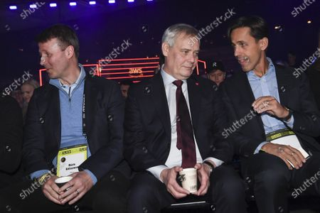 (L-R) Risto Siilasmaa from  Nokia, Finnish Prime Minister Antti Rinne and David Simas CEO of Obama Foundation at the The World's Leading Startup Event in Helsinki, Finland, 21 November 2019. The Slush start-up event takes place from 21 to 22 November and brings together 25,000 attendees, including startups, venture capital investors and journalists from over 100 countries to connect and network.