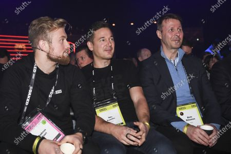 (L-R) Andreas Saari crew of Slush, Ilkka Paananen fron Supercell and Risto Siilasmaa from  Nokia at the The World's Leading Startup Event in Helsinki, Finland, 21 November 2019. The Slush start-up event takes place from 21 to 22 November and brings together 25,000 attendees, including startups, venture capital investors and journalists from over 100 countries to connect and network.