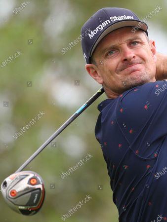 Justin Rose of England tees off during the first round of DP World Tour Championship European Tour Golf tournament 2019 at Jumeirah Golf Estates in Dubai, United Arab Emirates, 21 November 2019.