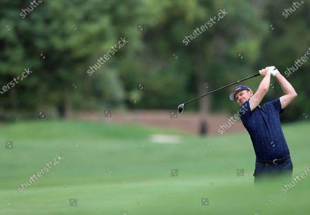 Justin Rose of England in action during the first round of DP World Tour Championship European Tour Golf tournament 2019 at Jumeirah Golf Estates in Dubai, United Arab Emirates, 21 November 2019.