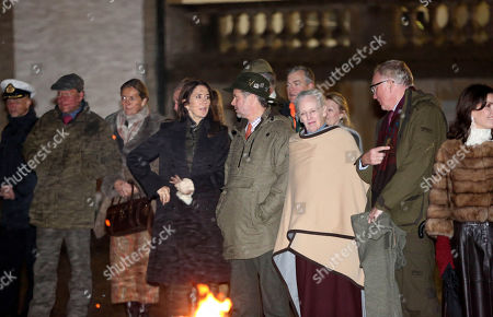 Stock Photo of Queen Margrethe II, Crown Princess Mary and Crown Prince Frederik