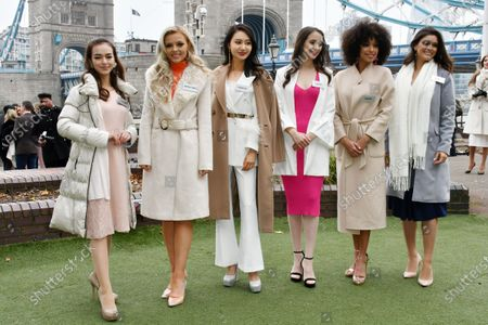 Malika Sera, Miss Japan, Emmy Cuvelier, Miss United States, Peishan Li, Miss China PR, Naomi Colford, Miss Canada, Ophely Mezino, Miss France and Elis Coelho, Miss Brazil