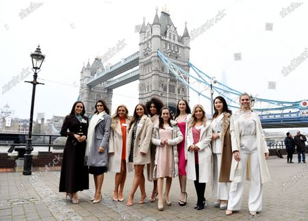 Miss World contestants  Miss Mexico Ashley Alvidrez, Miss Brazil Elis Coelho, Miss USA Emmy Cuvelier, Miss Ireland Chelsea Farrell, Miss France Ophely Mezino, Miss Japan Malika Sera, Miss Canada Naomi Colford, Miss Scotland Keryn Matthew, Miss China Li Peishan and Miss Spain Maria Del Mar Aguilera Zuheros pose in front of Tower Bridge during a photocall to mark their arrival in London, Britain, 21 November 2019. The annual Miss World competition returns to London for its 69th year with the final taking place on 14 December 2019.