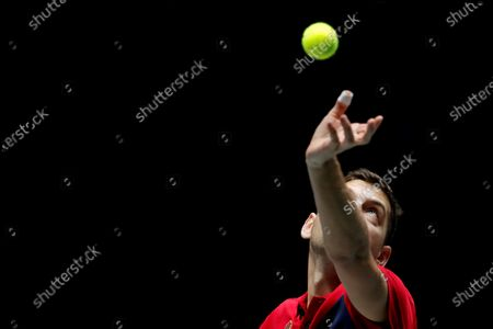 Serbia's Filip Krajinovic in action during his quarterfinals match against France's Jo-Wilfred Tsonga in the tie between France and Serbia of the Davis Cup Madrid Finals held at the Caja Magica tennis venue in Madrid, Spain, 21 November 2019.