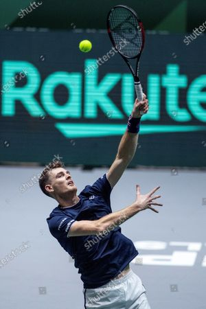 Britain's Jamie Murray in action during the double match against Kazakhstan's Mikhail Kukushkin and Alexander Bublik in the quarterfinals of the Davis Cup Madrid Finals held at the Caja Magica tennis venue in Madrid, Spain, 21 November 2019.