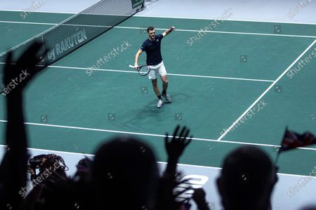 Britain's Jamie Murray reacts during the double match against Kazakhstan's Mikhail Kukushkin and Alexander Bublik in the quarterfinals of the Davis Cup Madrid Finals held at the Caja Magica tennis venue in Madrid, Spain, 21 November 2019.