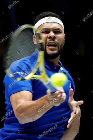 Stock Image of France's Jo-Wilfred Tsonga in action during his quarterfinals match against Serbia's Filip Krajinovic in the tie between France and Serbia of the Davis Cup Madrid Finals held at the Caja Magica tennis venue in Madrid, Spain, 21 November 2019.