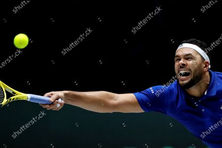 France's Jo-Wilfred Tsonga in action during his  match against Serbia's Filip Krajinovic in the quarterfinals of the Davis Cup Madrid Finals held at the Caja Magica tennis venue in Madrid, Spain, 21 November 2019.