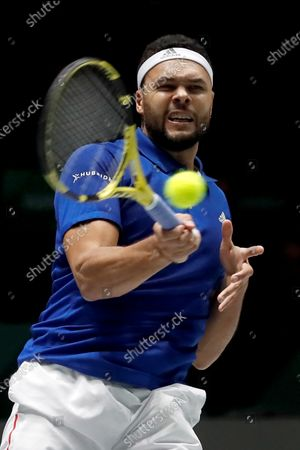 Stock Picture of France's Jo-Wilfred Tsonga in action during his  match against Serbia's Filip Krajinovic in the quarterfinals of the Davis Cup Madrid Finals held at the Caja Magica tennis venue in Madrid, Spain, 21 November 2019.