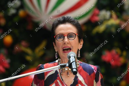 Stock Image of Sydney Lord Mayor Clover Moore announces the city's Christmas program in front of the Christmas tree at Martin Place in Sydney, Australia, 21 November 2019.