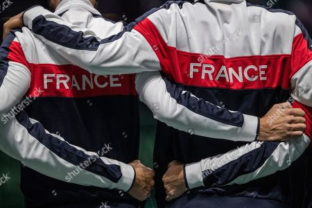 France players stand during the national anthem before the Davis Cup tennis match between Jo-Wilfried Tsonga and Serbia's Filip Krajinovic in Madrid, Spain