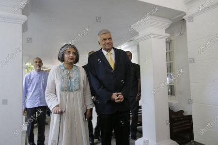 Sri Lanka's former Prime Minster Ranil Wickremesinghe (R) and his wife leave their official residence in Colombo, Sri Lanka, 21 November 2019. Mahinda Rajapaksa, brother of President Gotabaya Rajapaksa, was sworn-in as Prime Minister on 21 November after his brother's victory in the Sri Lanka presidential election held on 16 November 2019.