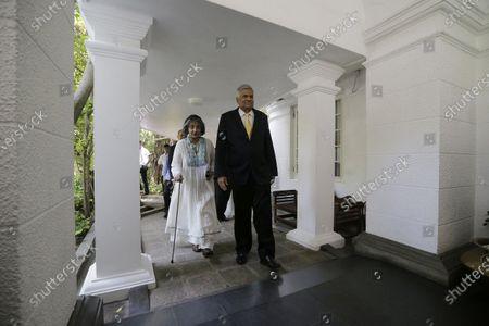 Stock Image of Sri Lanka's former Prime Minster Ranil Wickremesinghe (R) and his wife leave their official residence in Colombo, Sri Lanka, 21 November 2019. Mahinda Rajapaksa, brother of President Gotabaya Rajapaksa, was sworn-in as Prime Minister on 21 November after his brother's victory in the Sri Lanka presidential election held on 16 November 2019.