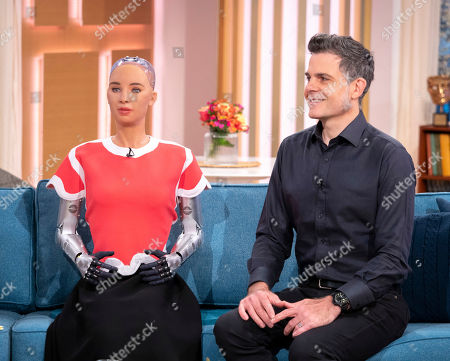 Stock Image of Sophia the Robot and Dr David Hanson