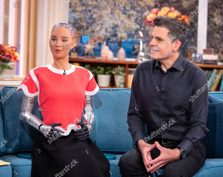 Stock Photo of Sophia the Robot and Dr David Hanson