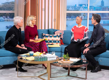 Phillip Schofield and Holly Willoughby with Sophia the Robot and Dr David Hanson
