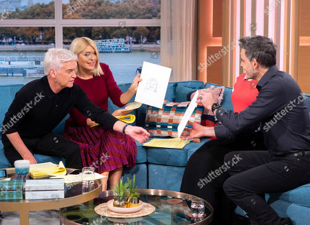 Stock Picture of Phillip Schofield and Holly Willoughby with Sophia the Robot and Dr David Hanson