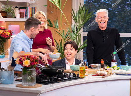 Stock Photo of Phillip Schofield and Holly Willoughby with Michael McIntyre and John Gregory-Smith