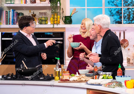 Phillip Schofield and Holly Willoughby with Michael McIntyre and John Gregory-Smith