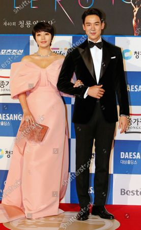 South Korean actrors Kim Hae-soo (L) and South Korean Yoo Yeon-seok (R) pose as they arrive for the 40th Blue Dragon Film Awards at the Paradise City, Art Space Plaza in Incheon, South Korea, 21 November 2019. The Blue Dragon (Cheongryong) Awards are one of the country's two major film awards.