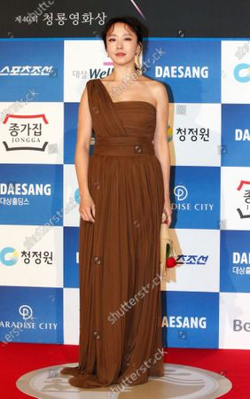 Jeon Do-yeon poses as she arrives for the 40th Blue Dragon Film Awards at the Paradise City, Art Space Plaza in Incheon, South Korea, 21 November 2019. The Blue Dragon (Cheongryong) Awards are one of the country's two major film awards.