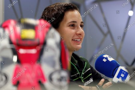 Spanish Supersport 300 class rider, Ana Carrasco, of Kawasaki Provec team smiles during an interview with Spanish international news agency Efe in Madrid, Spain, 21 November 2019.