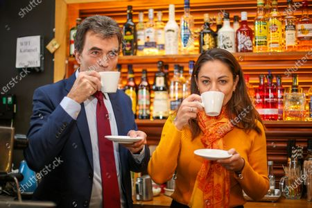 Liberal Democrat Shadow Brexit Secretary, Tom Brake and London Mayoral candidate, Siobhan Benita drink coffees as they visit Karamel Cafe - a creative regeneration charity in Hornsey and Wood Green, north London.