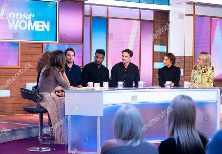 Stock Photo of Christine Lampard, Nadia Sawalha, Ben Foden, Levi Davis, Thom Evans, Rochelle Humes and Jane Moore