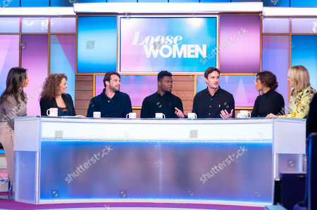 Stock Picture of Christine Lampard, Nadia Sawalha, Ben Foden, Levi Davis, Thom Evans, Rochelle Humes and Jane Moore