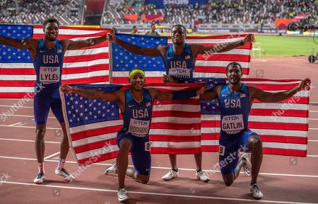 USA men?s 4x100m relay team final winners (B) Noah Lyles, Christian Coleman (F) Michael Rodgers and Justin Gatlin