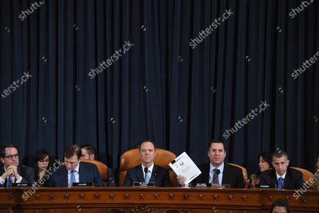 (L-R) U.S. Representative Jim Himes (D-CT), counsel Daniel Goldman, House Intelligence Committee chair, Adam Schiff (D-CA), U.S. Representative Devin Nunes (R-CA), and counsel Steve Castor are seen as David A. Holmes, Department of State political counselor for the United States Embassy in Kyiv, Ukraine and Fiona Hill, former National Security Council senior director for Europe and Russia appear before the House Intelligence Committee during an impeachment inquiry hearing at the Longworth House Office Building in Washington, DC, USA, 21 November 2019.
