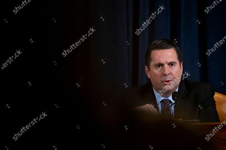 Representative Devin Nunes, a Republican from California and ranking member of the House Intelligence Committee, questions witnesses during an impeachment inquiry hearing in Washington, DC, USA, 21 November 2019. The impeachment inquiry is being led by three congressional committees and was launched following a whistleblower's complaint that alleges US President Donald J. Trump requested help from the President of Ukraine to investigate a political rival, Joe Biden and his son Hunter Biden.