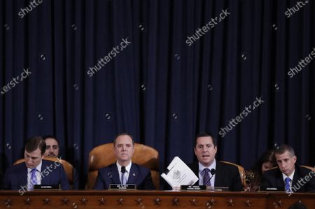 Representative Devin Nunes, a Republican from California and ranking member of the House Intelligence Committee, second right, speaks during the House Intelligence Committee impeachment inquiry hearing in Washington, D.C., USA, 21 November 2019, on President Donald Trump's efforts to tie U.S. aid for Ukraine to investigations of his political opponents.