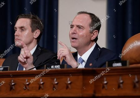 Adam Schiff, Daniel Noble. House Intelligence Committee Chairman Adam Schiff, D-Calif., with committee staffer Daniel Noble at left, makes impassioned remarks at the conclusion of a week of public impeachment hearings on President Donald Trump's efforts to tie U.S. aid for Ukraine to investigations of his political opponents, on Capitol Hill in Washington, . Former White House national security aide Fiona Hill, and David Holmes, a U.S. diplomat in Ukraine, were the final witnesses today
