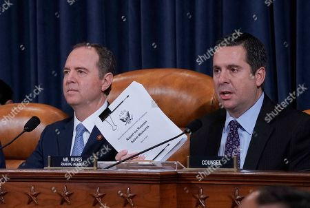Adam Schiff, Devin Nunes. Rep. Devin Nunes, R-Calif., the ranking member of the House Intelligence Committee, joined at left by Chairman Adam Schiff, D-Calif., holds up a document he is submitting as the panel prepares to listen to former White House national security aide Fiona Hill, and David Holmes, a U.S. diplomat in Ukraine, on Capitol Hill in Washington, during a public impeachment hearing of President Donald Trump's efforts to tie U.S. aid for Ukraine to investigations of his political opponents