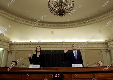 Fiona Hill (2-L), the National Security Councils former senior director for Europe and Russia, and David Holmes (2-R), an official from the American Embassy in Ukraine, are sworn in to testify before the House Intelligence Committee in the Longworth House Office Building on Capitol Hill in Washington, DC, USA, 21 November 2019. The committee heard testimony during the fifth day of open hearings in the impeachment inquiry against U.S. President Donald Trump, whom House Democrats say held back U.S. military aid for Ukraine while demanding it investigate his political rivals and the unfounded conspiracy theory that Ukrainians, not Russians, were behind the 2016 computer hacking of the Democratic National Committee.