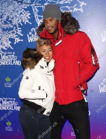Kazimir Crossley and Theo Campbell attend the Winter Wonderland VIP launch night at Hyde Park in London.