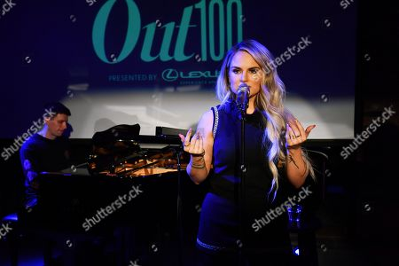 Jojo Levesque at the Out magazine Out100 Event, presented by Lexus