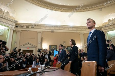 Former National Security Council Russia expert Fiona Hill and Counselor for Political Affairs at the U.S. Embassy in Ukraine David Holmes arrive to testify before the U.S. House Permanent Select Committee on Intelligence on Capitol Hill