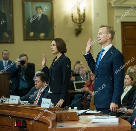 Former White House national security aide Fiona Hill along with David Holmes, politcal counselor at the US Embassy in Kiev, testify in public in the inquiry of the potential impeachment of President Donald Trump. at a Congressional hearing on Capitol Hill