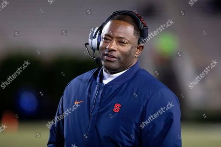 Shows Syracuse Head Coach Dino Babers smiling on the sideline during an NCAA college football game against Duke in Durham, N.C.Syracuse has a terrific 1-2 punch in punter Sterling Hofrichter and place-kicker Andre Szmyt. Together they've helped the Orange excel on special teams for a second straight season. Hofrichter has landed 93 of his 255 career punts inside the 20-yard line with only 13 touchbacks